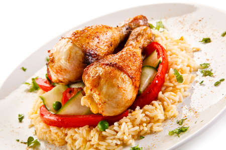 pollo arrosto Bacchette riso bianco e verdure