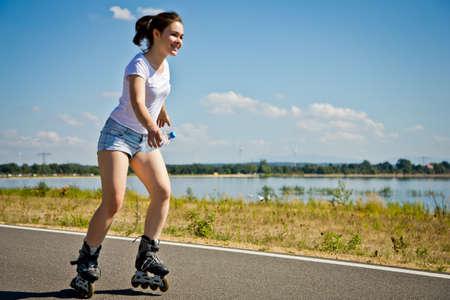 roller blade: Girl rollerblading