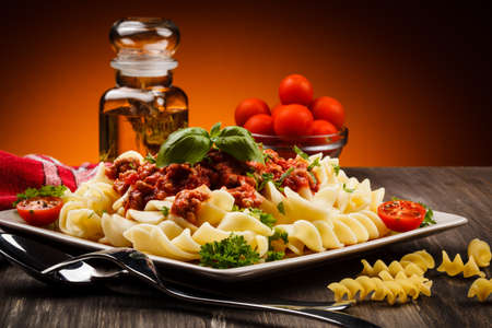 beef stew: Pasta with meat, tomato sauce and vegetables
