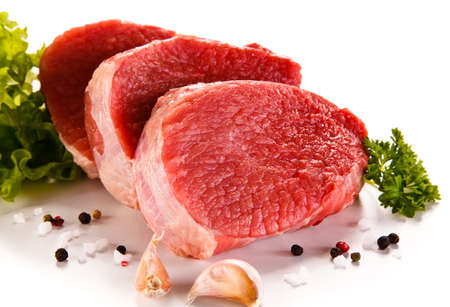 sliced: Fresh raw beef on white Stock Photo
