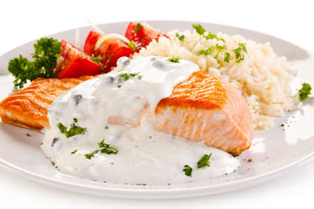 white rice: Grilled salmon and vegetables Stock Photo
