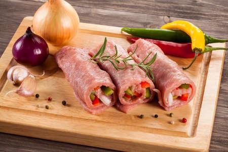 raw pork: Raw pork chop wrapped Stock Photo