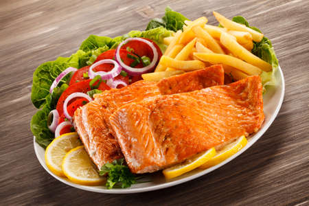Roasted salmon with french fries