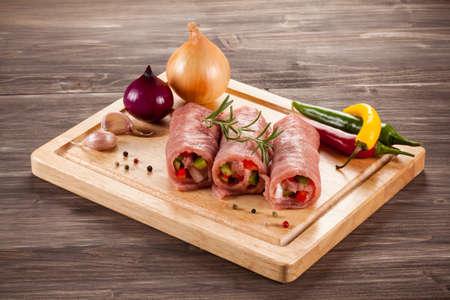 raw pork: Raw pork chops wrapped Stock Photo