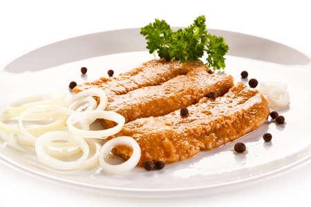 Visschotel - gebakken haring Stockfoto