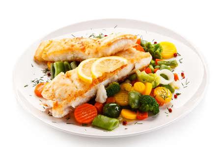 Visschotel - gebakken kabeljauw Stockfoto