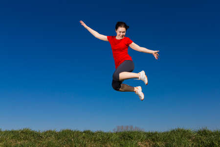 enjoymant: Girl jumping outdoor