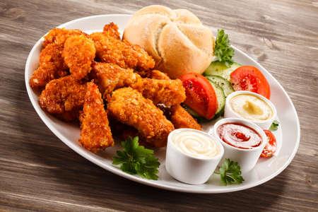chicken nuggets: Fried chicken nuggets