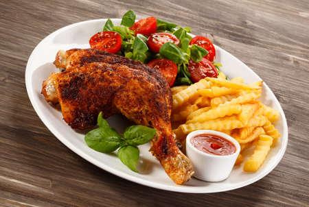 papas: Pierna de pollo asada
