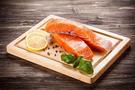 forums: Fresh raw salmon Stock Photo
