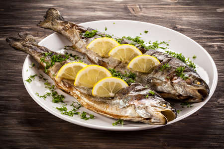 dish: Fish dish - grilled herring Stock Photo