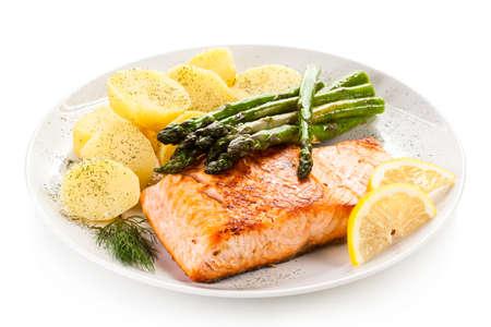 Roasted salmon with asparagus Stock Photo