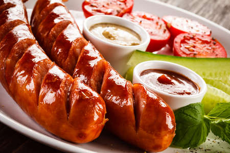 Grilled sausages 스톡 콘텐츠
