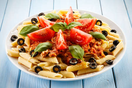 Pasta with meat and olives Stock Photo
