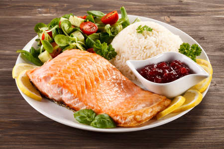 Roasted salmon with rice Stock Photo