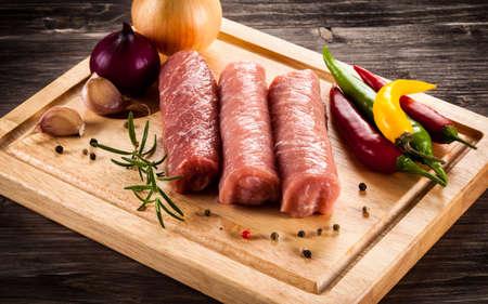 pork chops: Raw pork chops wrapped Stock Photo