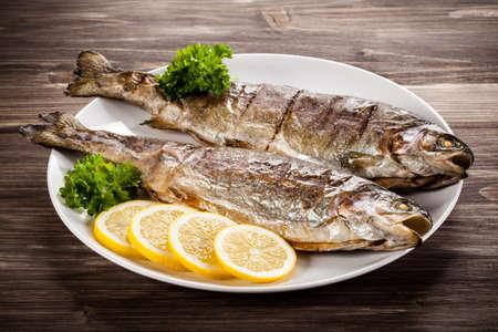 Fried herring - visschotel Stockfoto