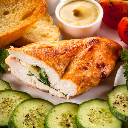 chops: Roasted chicken fillet with filling