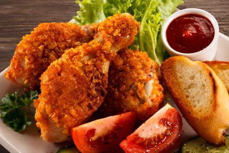 fried: Fried chicken drumsticks Stock Photo