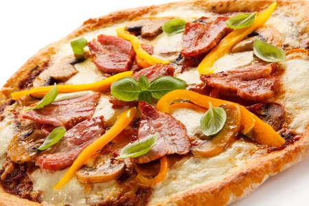 champignons: Pizza with smoked ham Stock Photo