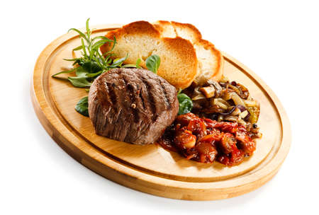 fried foods: Grilled steak with toasts