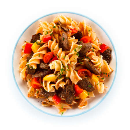 prepared dish: Pasta with meat and vegetables