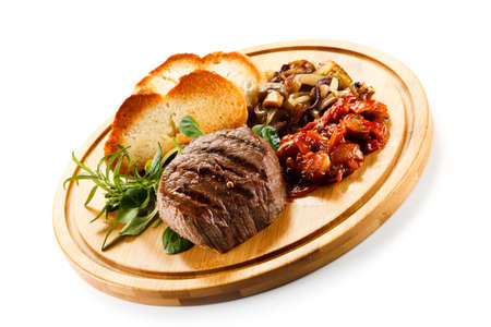 Grilled steak with toasts