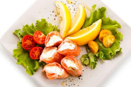 Roasted salmon - fish dish Stock Photo