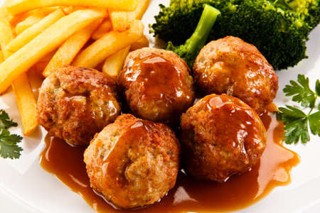 Meatballs with french fries