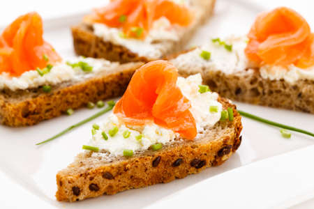 Mini sandwiches with smoked salmon