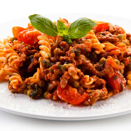 pasta sauce: Pasta with meat and tomato sauce