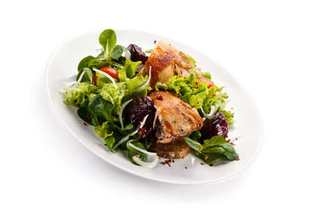 Chicken meat with vegetable salad Stock Photo