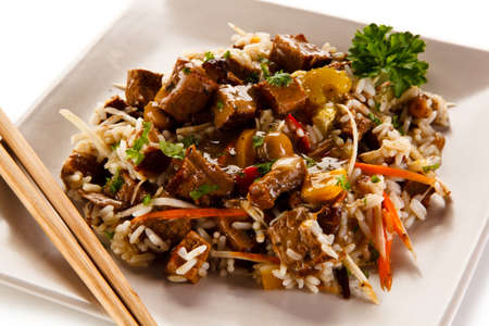 Roast meat with white rice Stock Photo