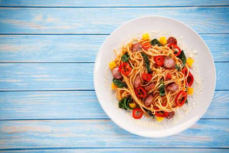 meat sauce: Pasta with vegetables Stock Photo