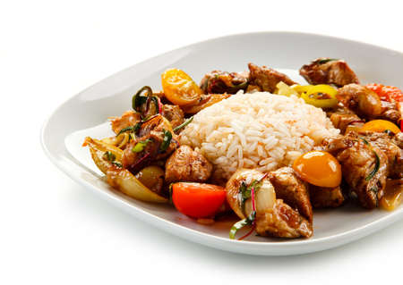 Asian stew with rice and meat