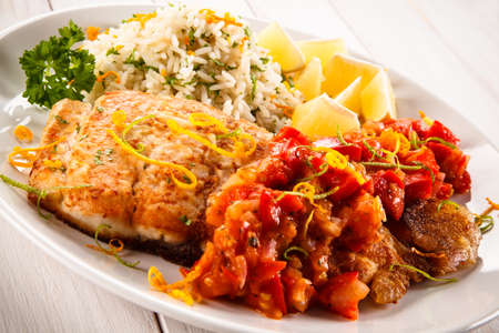 Fish dish - fried fish Stock Photo