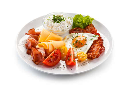 Breakfast - fried egg and beacon Stock Photo - 75614616