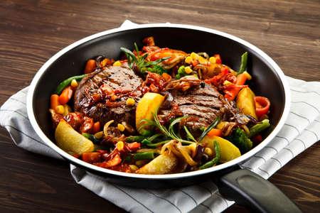 Roast steak served on frying pan