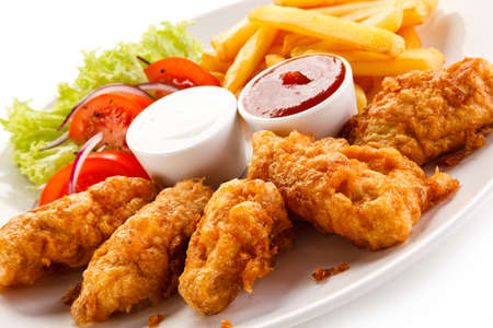 Fried nuggets with french fries