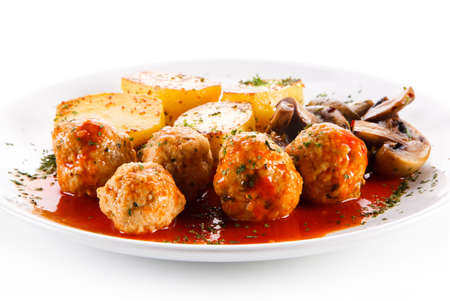prepared dish: Roast meatballs Stock Photo
