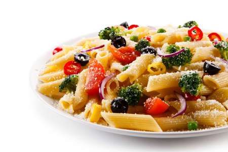 rustical: Pasta with vegetables Stock Photo