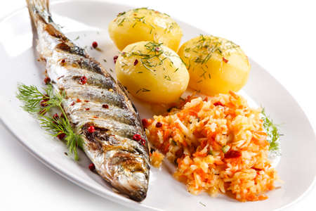 Fried herring fish with potatoes