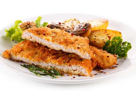 Gebakken Pork Chop Met Aardappelen Stockfoto