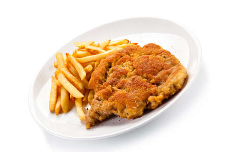 Fried pork chop with french fries Stock Photo