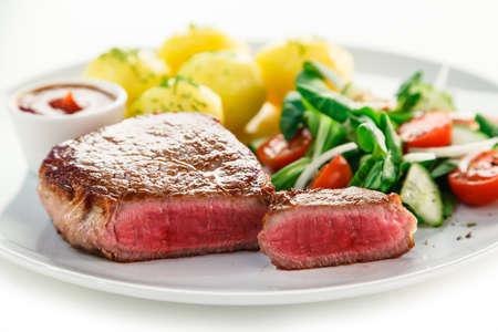 beefsteak: Grilled beefsteak with potatoes Stock Photo