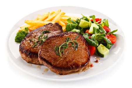 Grilled beefsteak with french fries Stockfoto