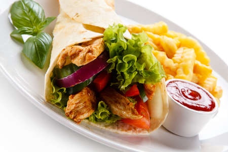 Tortilla wraps with french fries
