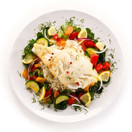 ご飯と魚のフライ 写真素材