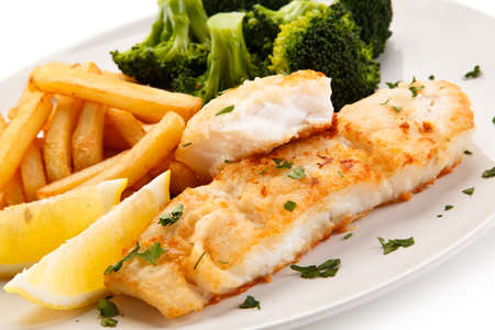 Roast fish with french fries