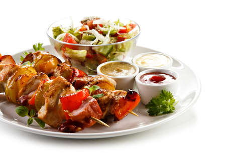 Grilled meat with vegetables Stock Photo